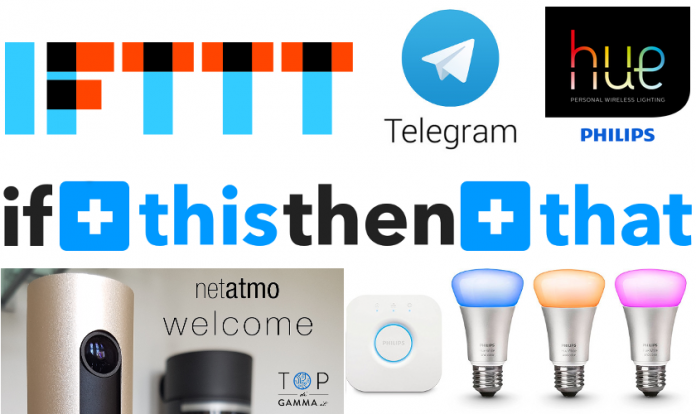 ifttt telegram netatmo welcome philps hue casa domotica