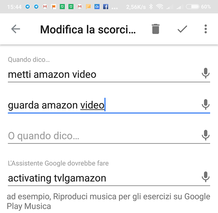 Creo shortcut scorciatoia in Google Assistant